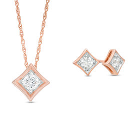 0.23 CT. T.W. Diamond Solitaire Concave Square Pendant and Stud Earrings Set in 10K Rose Gold