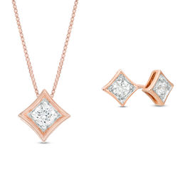 0.45 CT. T.W. Diamond Solitaire Concave Square Pendant and Stud Earrings Set in 10K Rose Gold