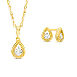 0.23 CT. T.W. Diamond Solitaire Teardrop Pendant and Stud Earrings Set in 10K Gold