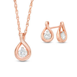 0.23 CT. T.W. Diamond Solitaire Teardrop Twist Pendant and Stud Earrings Set in 10K Rose Gold