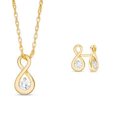 0.23 CT. T.W. Diamond Solitaire Infinity Pendant and Stud Earrings Set in 10K Gold