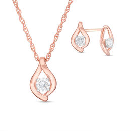 0.23 CT. T.W. Diamond Solitaire Flame Pendant and Stud Earrings Set in 10K Rose Gold