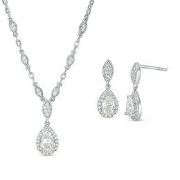 Pear-Shaped Lab-Created White Sapphire Vintage-Style Necklace and Drop Earrings Set in Sterling Silver
