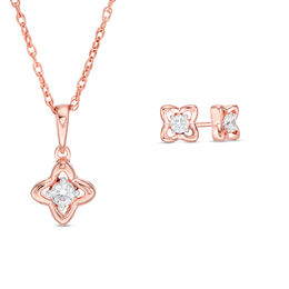 0.23 CT. T.W. Diamond Solitaire Flower Pendant and Stud Earrings Set in 10K Rose Gold
