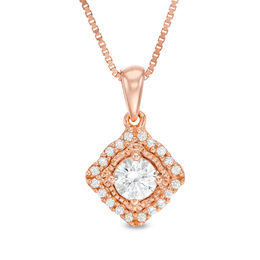0.32 CT. T.W. Certified Canadian Diamond Tilted Cushion Frame Vintage-Style Pendant in 10K Rose Gold (I/I1)
