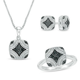 0.34 CT. T.W. Enhanced Black Diamond Pendant, Stud Earrings and Ring Set in Sterling Silver with Black Rhodium - Size 7