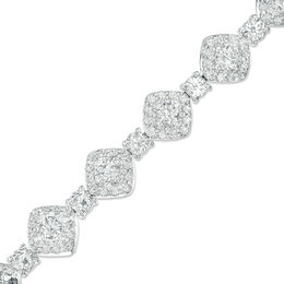3.0mm Lab-Created White Sapphire Square Framed Link Bracelet in Sterling Silver - 7.25""