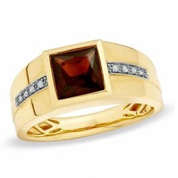 Previously Owned - Men's 8.0mm Square-Cut Garnet and Diamond Accent Ring in 10K Gold