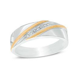 Previously Owned - Men's Diamond Accent Slant Ring in Sterling Silver and 14K Gold Plate