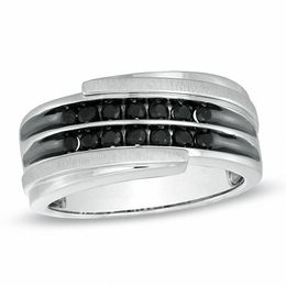 Previously Owned - Men's Black Sapphire Bypass Band in 10K White Gold