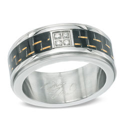 Previously Owned - Men's Diamond Accent and Carbon Fibre Stainless Steel Wedding Band