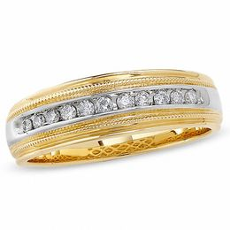 Previously Owned - Men's 0.25 CT. T.W. Diamond Channel Milgrain Band in 14K Two-Tone Gold