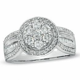 Previously Owned - 1.00 CT. T.W. Diamond Cluster Frame Ring in 10K White Gold