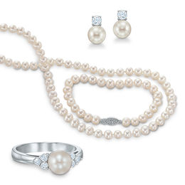 Previously Owned - Cultured Freshwater Pearl and Lab-Created White Sapphire Necklace, Bracelet, Ring and Earrings Set