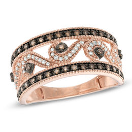 Previously Owned - 0.33 CT. T.W. Champagne and White Diamond Scroll Ring in 10K Rose Gold