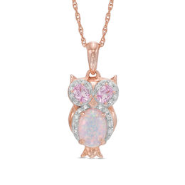 Previously Owned - Lab-Created Opal with Pink and White Sapphire Owl Pendant in Sterling Silver with 14K Rose Gold Plate