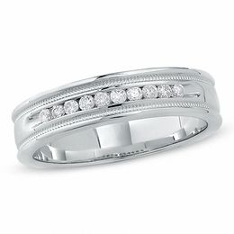 Previously Owned - Men's 0.25 CT. T.W. Diamond Channel Milgrain Band in 14K White Gold