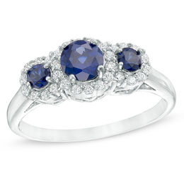 Previously Owned - 5.0mm Lab-Created Blue and White Sapphire Frame Three Stone Ring in 10K White Gold